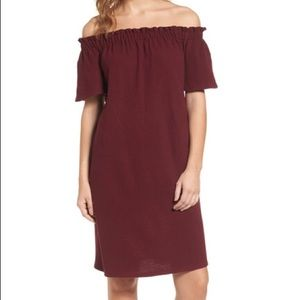 Caslon Dress Red cotton off shoulder shift Small